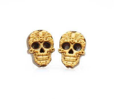sugar skull stud wood earrings