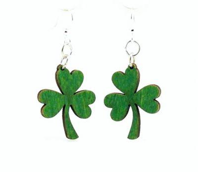 kelly green shamrock wood earrings