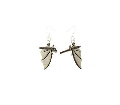 gray bat wood earrings