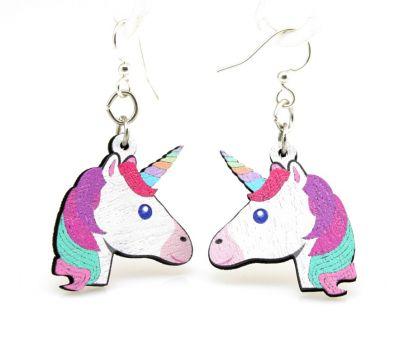 unicorn wood earrings
