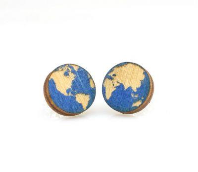 Globe stud wood earrings