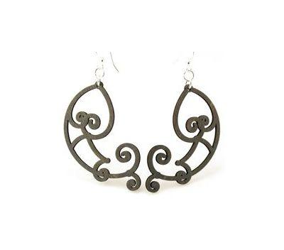 Black fish scroll earrings