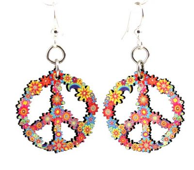 blossom peace wood earrings
