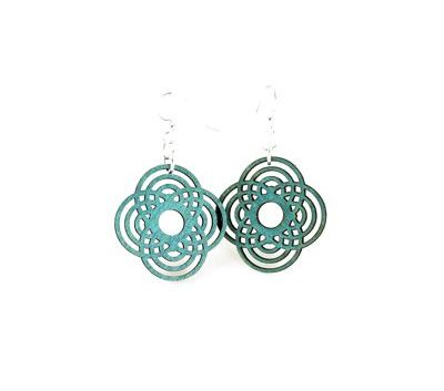 teal small diamond half circle wood earrings