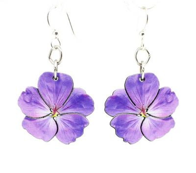 violet flower wood earrings