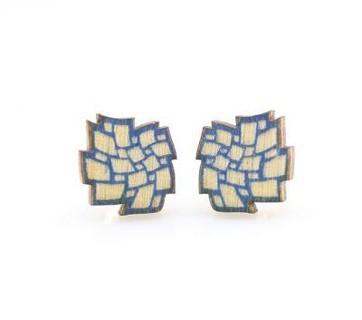 cloud stud wood earrings