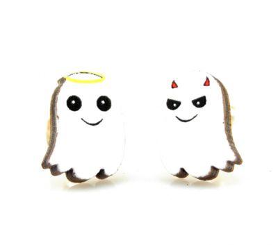 ghost stud wood earrings