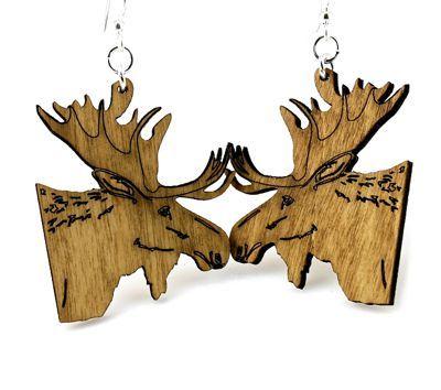 Tan Moose wood earrings
