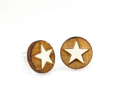 Western Star Stud Wood Earrings