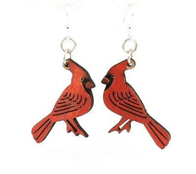 cardinal wood earrings