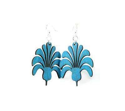 aqua marine flower bouquet wood earrings