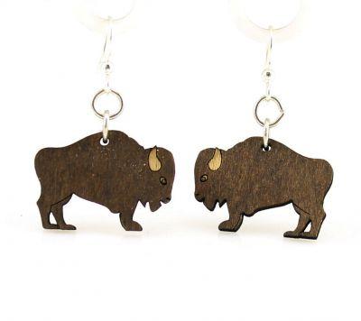 Brown buffalo wood earrings