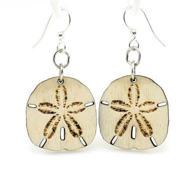 Sand Dollar Wood Earrings