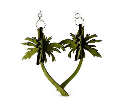 green 3d palm tree earrings