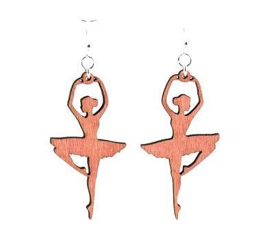 fuchsia ballerina wood earrings