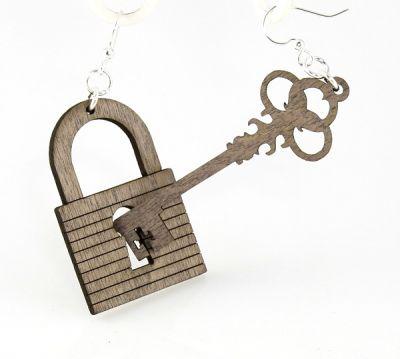 gray lock and key earrings