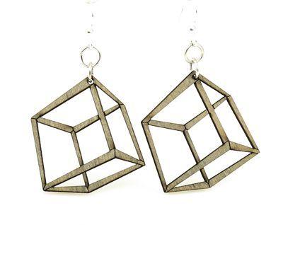 apple green 3d cube wood earrings