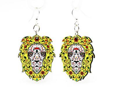 lion pride wood earrings
