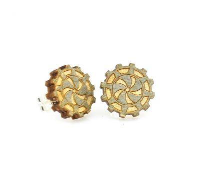 gear stud wood earrings