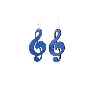 royal blue treble clef earrings