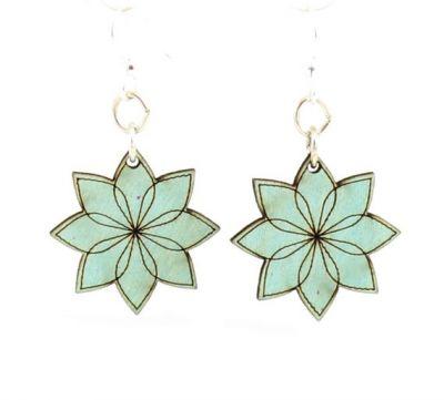 blue vector blossom wood earrings