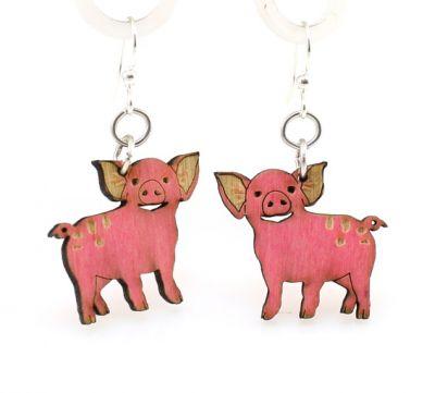 piglet wood earrings