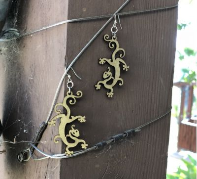 Gecko Wood Earrings