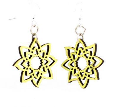 Neon Yellow blossom wood earrings