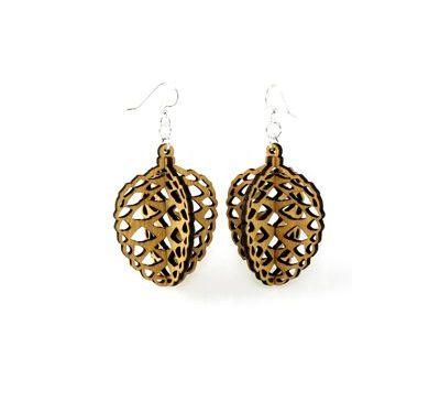 pine cone wood earrings