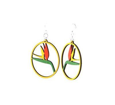 Birds of Paradise Wood Earrings