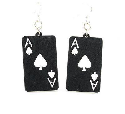 Black ace of spade wood earrings