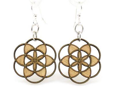seed of life blossom wood earrings