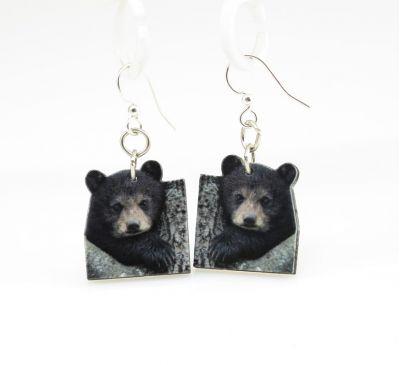 bear cub wood earrings