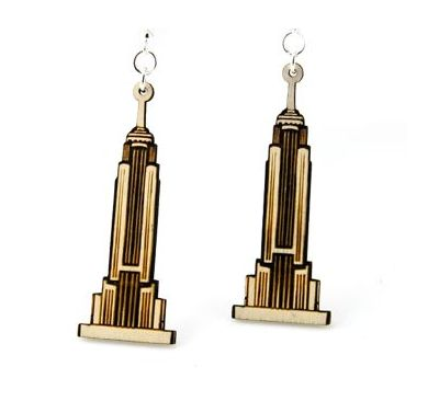 empire state building wood earrings