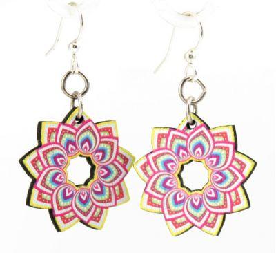 briliant mandala flower wood earrings