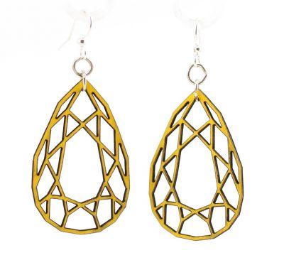lemon yellow wood pear diamond cut earrings