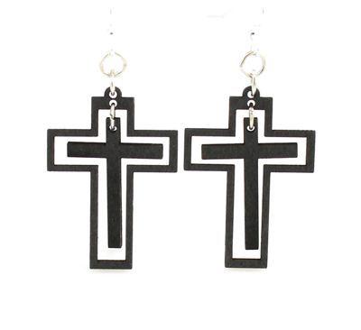 traditional cross wood earrings