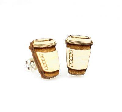 coffee stud wood earrings
