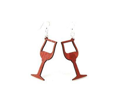 cherry red wine wood glass earrings
