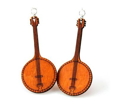 tangerine banjo wood earrings