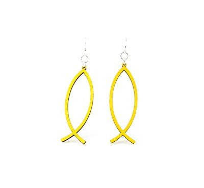 Yellow Fish Icon Earrings