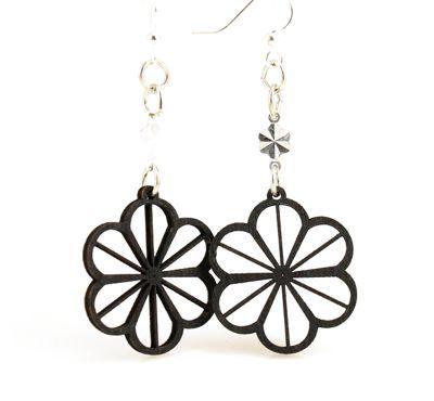 black clover wood earrings