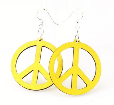 Yellow small peace sign wood earrings