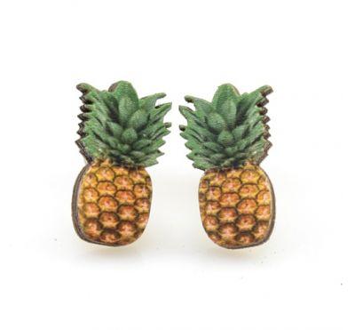 pineapple stud wood earrings