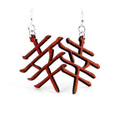 Red Kanji symbol wood earrings
