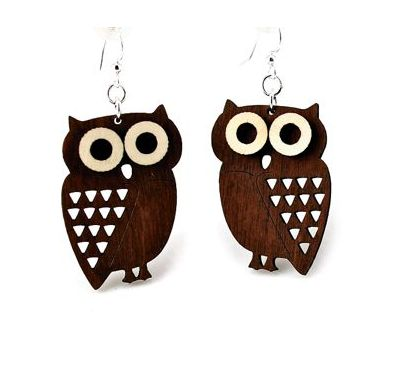 brown little hoot owl wood earrings