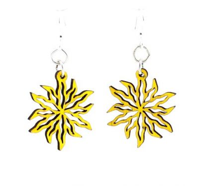 yellow wild flower blossom wood earrings