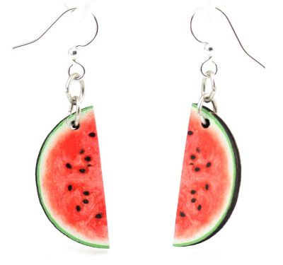 watermelon wood earrings