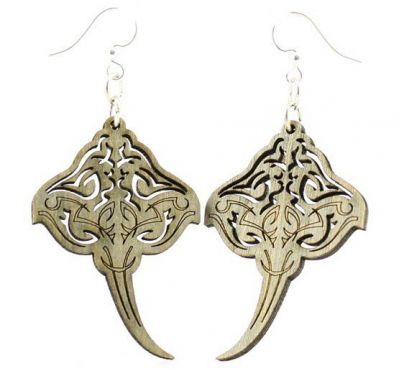 Gray stringray wood earrings