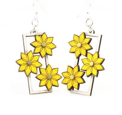 pedal pusher flower gear wood earrings